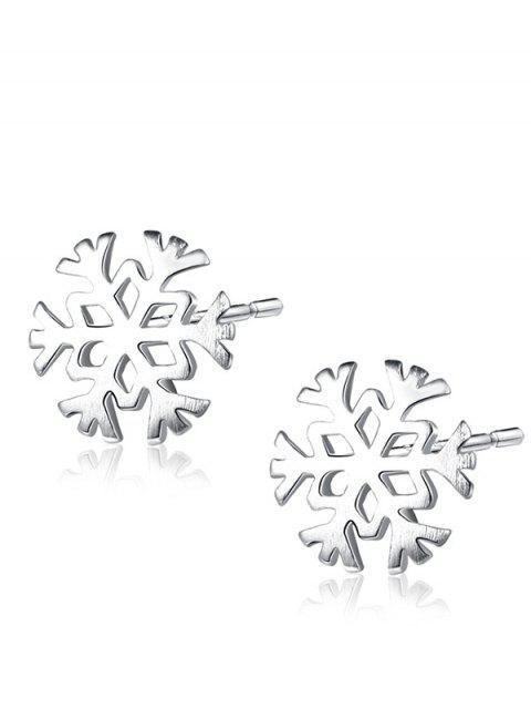 Pendientes de plata de la Navidad del perno prisionero del copo de nieve - Plata  Mobile