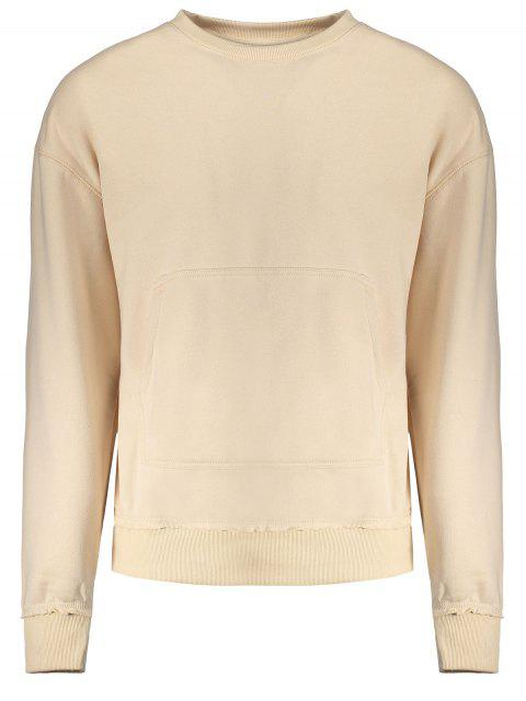 Sudadera con cuello redondo de bolsillo canguro - Albaricoque M Mobile