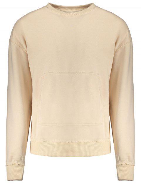 shops Kangaroo Pocket Crew Neck Sweatshirt - APRICOT M Mobile