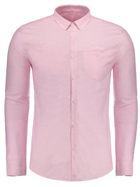 affordable Flirting Graphic Button Down Shirt - PAPAYA 3XL Mobile