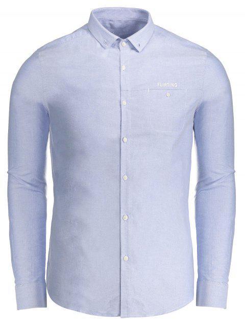 Flirting gráfico botón abajo de la camisa - Azul XL Mobile