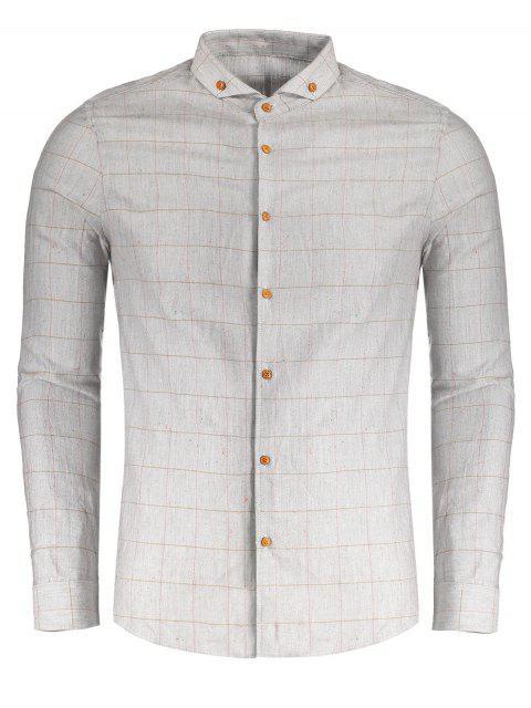 Camisa a cuadros con botones - Gris XL Mobile