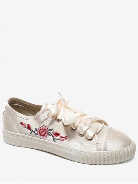 trendy Embroidery Ribbon Floral Skate Shoes - OFF-WHITE 39 Mobile