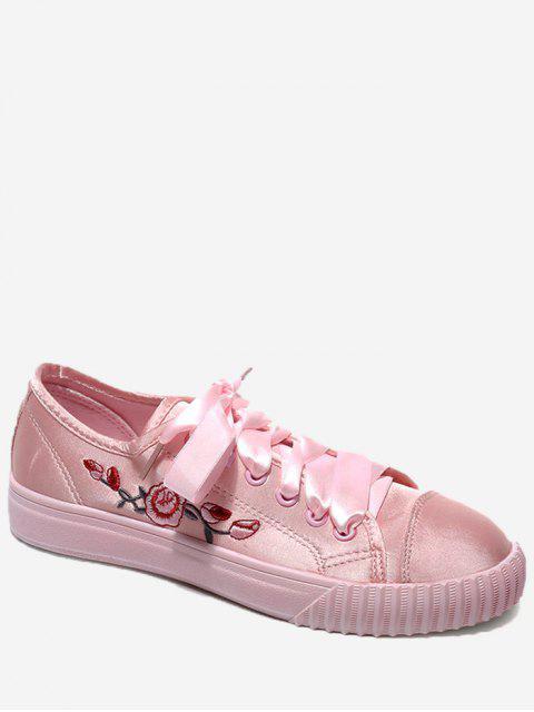 Zapatos del patín floral de la cinta del bordado - Papaya 38 Mobile