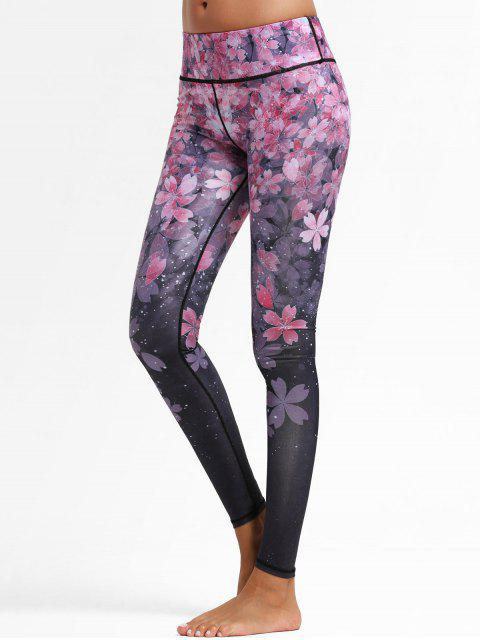 lady Floral Ombre Sports Leggings - FLORAL M Mobile