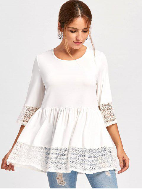 shops Lace Trim Peplum Top - WHITE 2XL Mobile