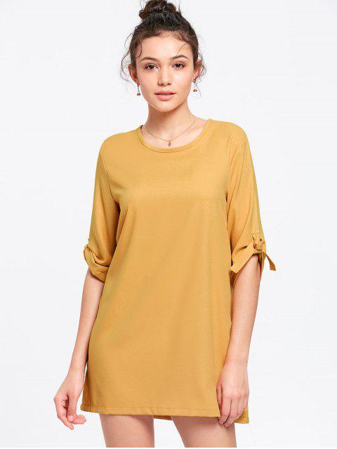 fashion Tie Sleeve Mini Dress - YOLK YELLOW XL Mobile