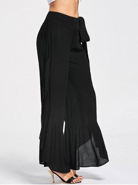 unique Tie Side Ruffle Slit Palazzo Pants - BLACK L Mobile