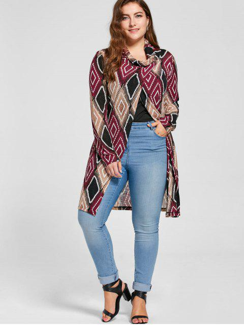 Plus Size Geometric Cowl Neck Knit Top - COLORMIX  4XL Mobile