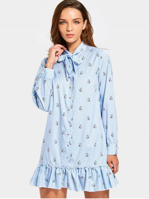 fancy Ruffle Hem Rabbit Striped Bow Tie Dress - LIGHT BLUE M Mobile