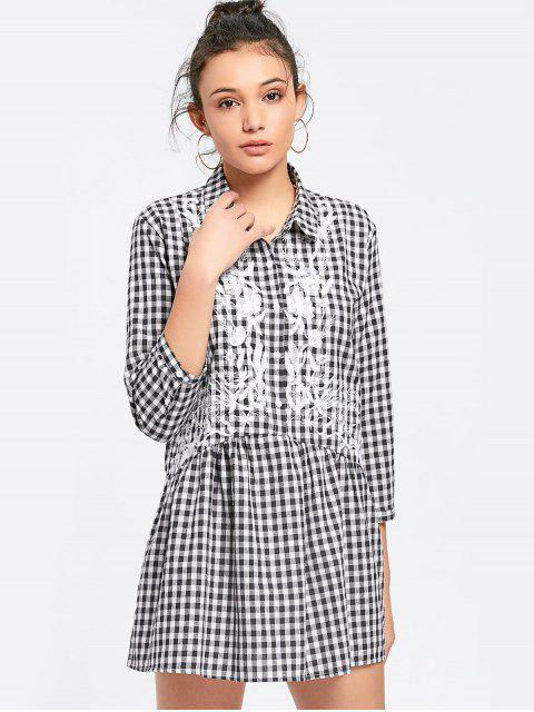 women Checked Embroidered Shift Mini Dress - CHECKED M Mobile