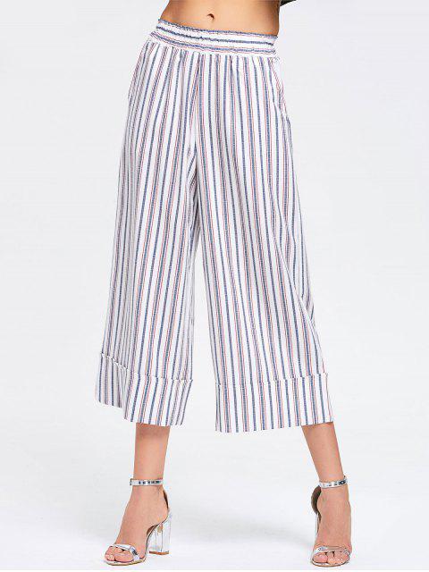 Pantalon Large Rayé à Taille Haute - Rayure M Mobile