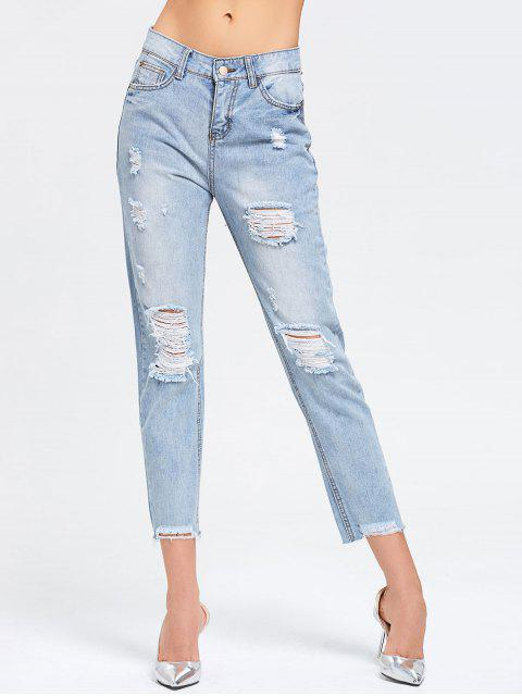 ladies Ninth Destroyed Frayed Pencil Jeans - DENIM BLUE XL Mobile
