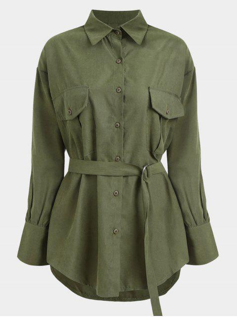 online Belted Longline Shirt - ARMY GREEN ONE SIZE Mobile