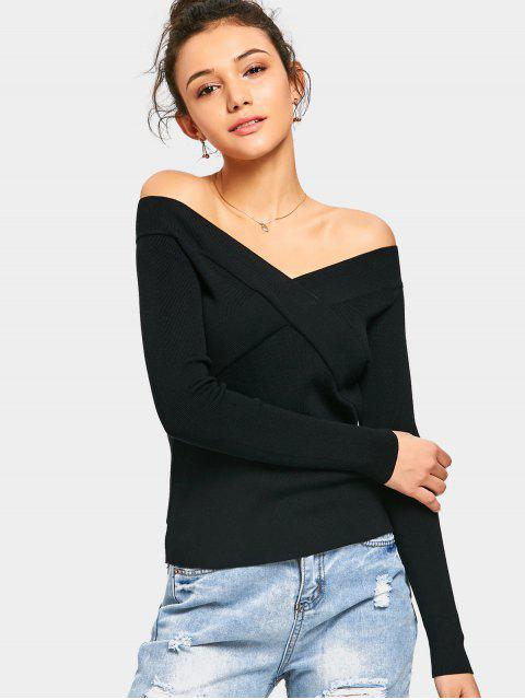 trendy Off The Shoulder Crisscross Knitted Top - BLACK ONE SIZE Mobile