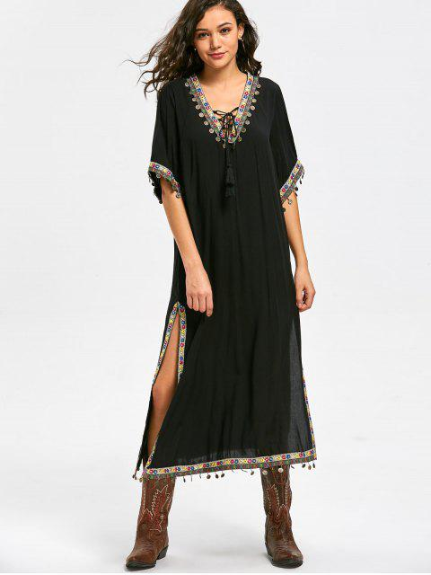 Lace Up Side Slit Tribal Pattern Bohemian Dress - Noir XL Mobile