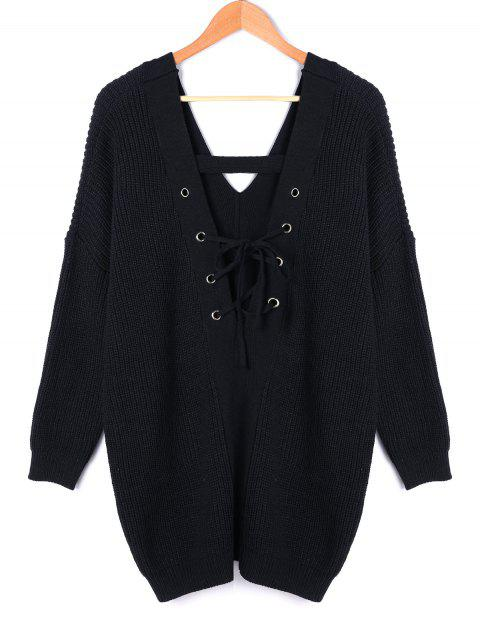 shop V Neck Back Lace Up Plus Size Sweater - BLACK 3XL Mobile
