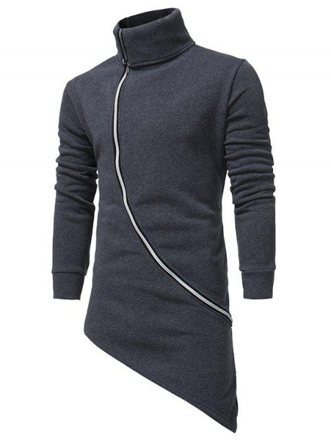 Turndown Collar Oblique Zip Up Asymmetrische Hoodie - Dunkelgrau 3XL Mobile