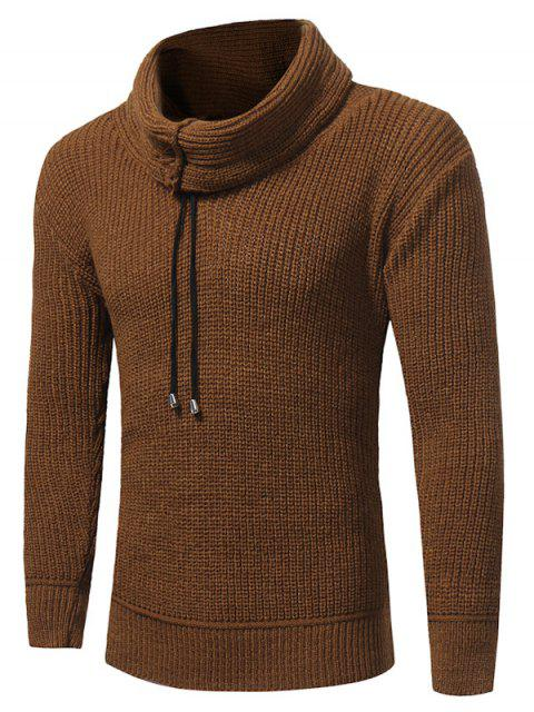 trendy Cowl Neck Drawstring Woolen Yarn Sweater - CAMEL L Mobile