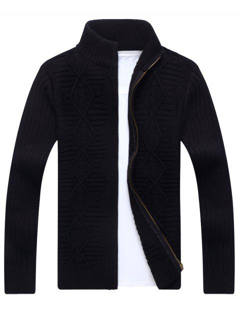 women Stand Collar Cable Knit Cardigan - BLACK 3XL Mobile