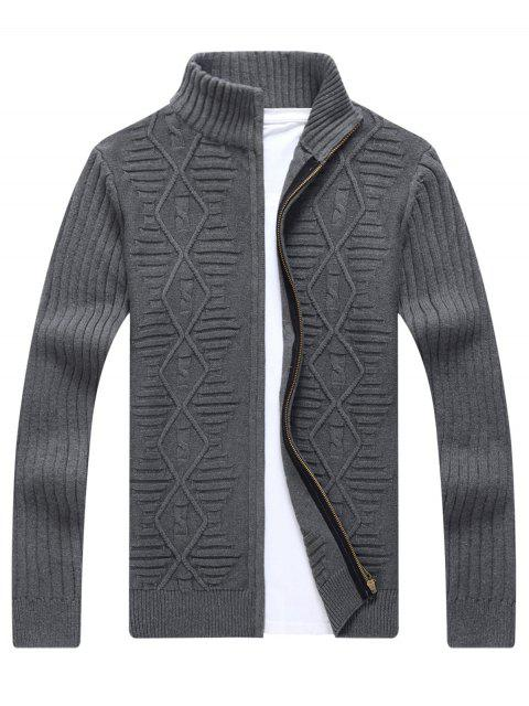 fashion Stand Collar Cable Knit Cardigan - GRAY 2XL Mobile