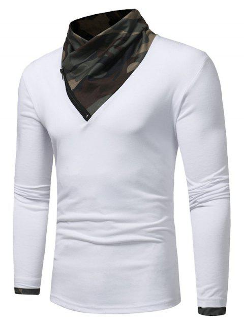 Cuello Cuello Camuflaje Panel Zipper T-shirt - Blanco L Mobile
