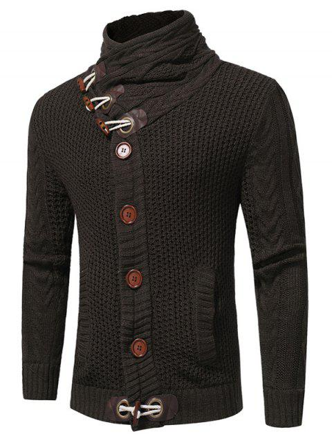online Cowl Neck Horn Button Single Breasted Cardigan - DEEP GRAY XL Mobile