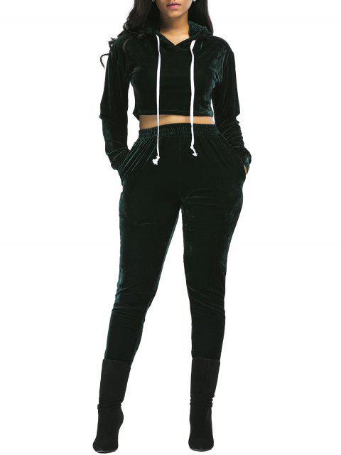 Terciopelo Recortada con Capucha y Pantalones - Verde negruzco S Mobile
