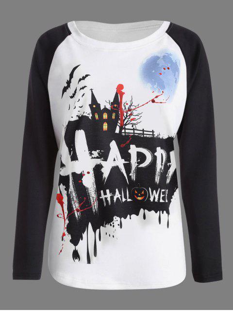 Kürbis Happy Halloween Druck Raglan Hülsen T-Shirt - Weiß & Schwarz 2XL Mobile