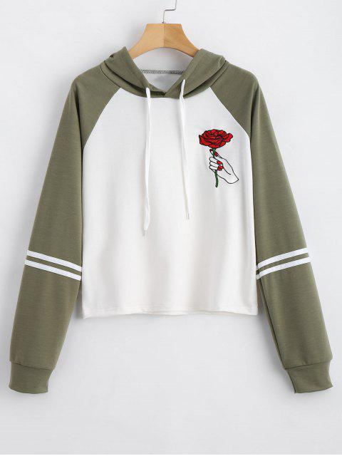 womens Floral Patched Drawstring Raglan Sleeve Hoodie - ARMY GREEN S Mobile
