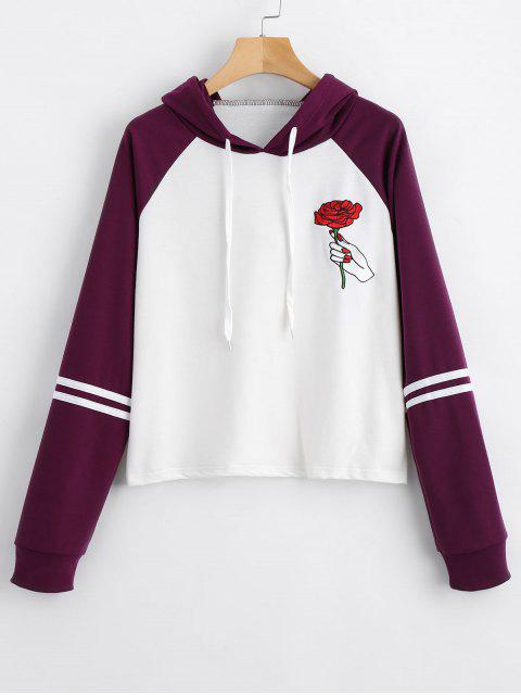 outfit Floral Patched Raglan Sleeve Hoodie - DEEP PURPLE S Mobile