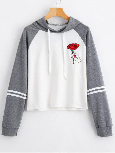 online Floral Patched Drawstring Raglan Sleeve Hoodie - GRAY M Mobile