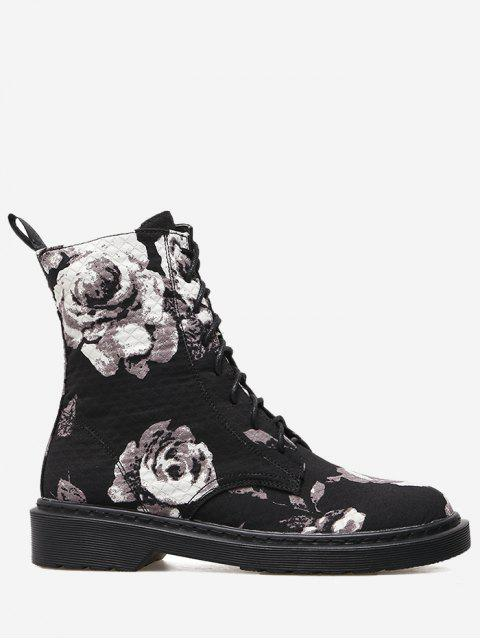 chic Stitching Floral Lace Up Boots - BLACK 37 Mobile