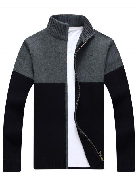 best Full Zip Ribbed Color Block Cardigan - BLACK L Mobile