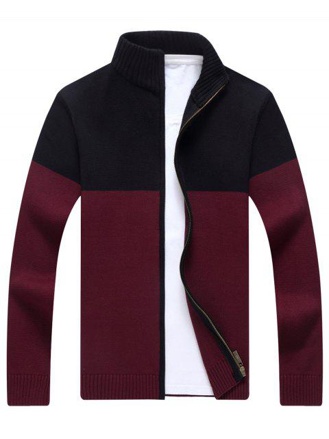 outfit Full Zip Ribbed Color Block Cardigan - WINE RED 3XL Mobile