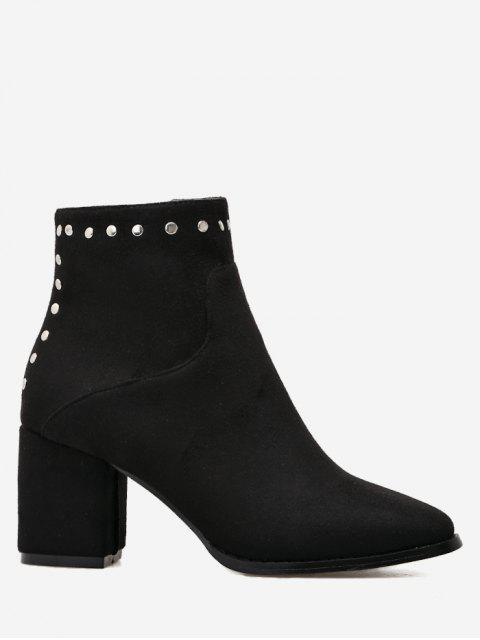 fancy Rivet Chunky Heel Pointed Toe Ankle Boots - BLACK 37 Mobile