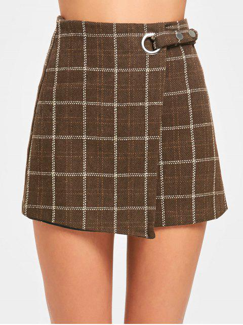 unique High Waist Embellished Plaid Skirt - COFFEE L Mobile