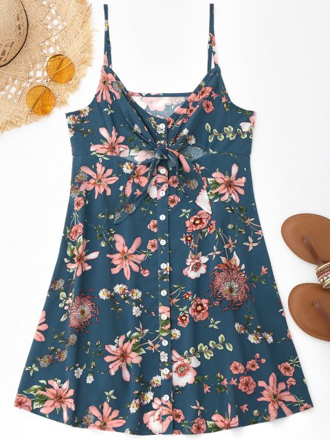 Cami Riemchen Blumen Ausgeschnittenes Strandkleid - Blumen M Mobile