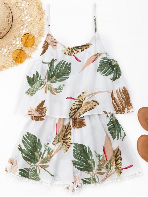 women Cami Leaf Print Overlay Beach Romper - WHITE M Mobile