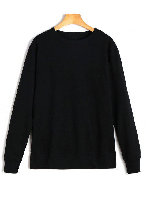 outfit Casual Plain Sweatshirt - BLACK S Mobile