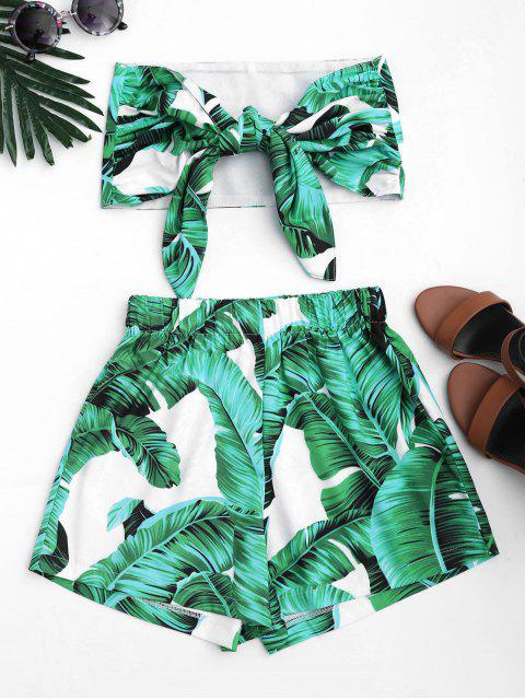 shop Leaves Print Strapless Top and Shorts Set - GREEN M Mobile
