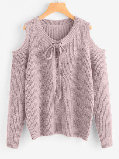 Lace Up Cold Shoulder Chunky Sweater - Light Purple