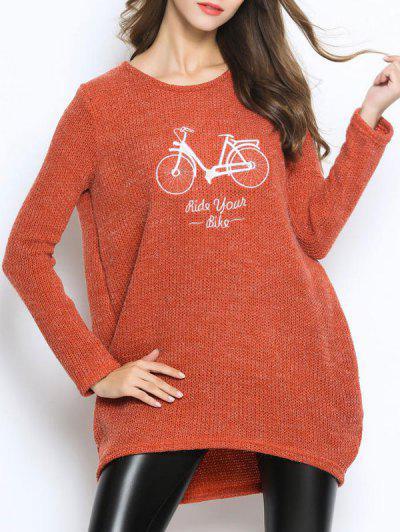 Fuzzy Oversized Embroidered Sweater - Orangepink
