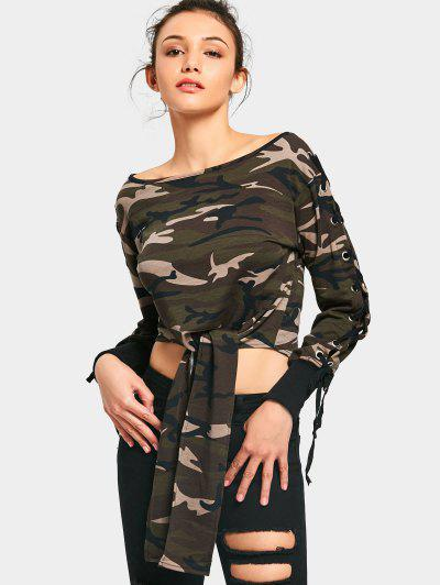 Lace Up Sleeve Camouflage Crop Sweatshirt - Camouflage S