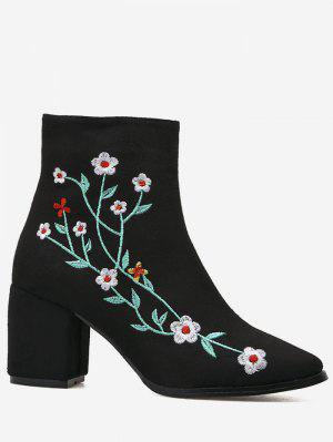 Chunky Embroidery Floral Ankle Boots