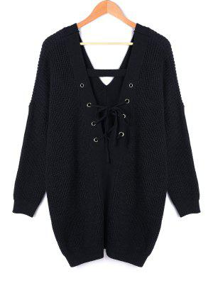 V-Ausschnitt Rücken Schnürung Plus Size Pullover