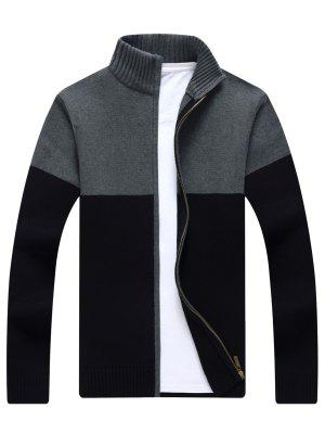 Full Zip Ribbed Color Block Strickjacke