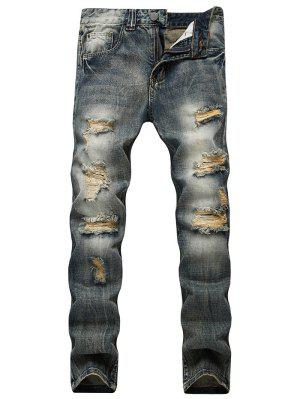 Faded Wash Slim Fit Beunruhigte Jeans