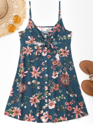 Cami Tied Floral Cut Out Slit Robe de plage