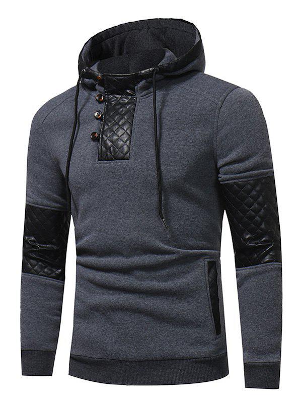 Hooded PU Leather Panel Fleece Pullover Hoodie 227481106